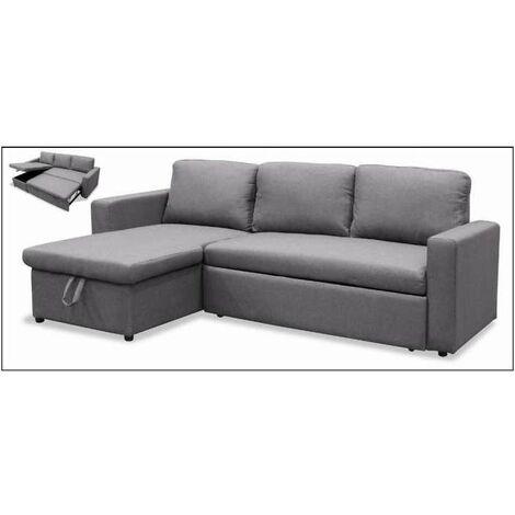Sofa cama con chaiselonge Marbella tapizado gris 220/125 cm(ancho) 89/40 cm(altura) 150/190 cm(fondo). Color Gris