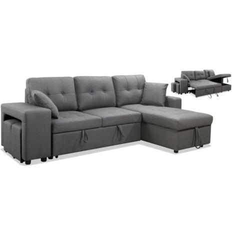 Sofa cama con chaiselonge Mojacar tapizado gris 240 cm(ancho) 86 cm(altura) 150 cm(fondo). Color Gris