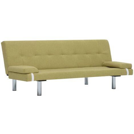 Sofá cama con dos almohadas de poliéster verde