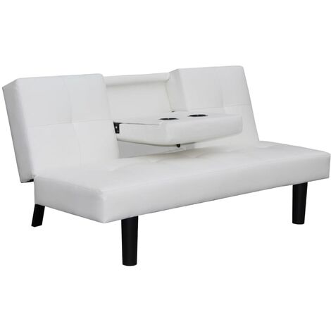 Sofá Cama con Mesa Desplegable de Cuero artificial De Color Blanco