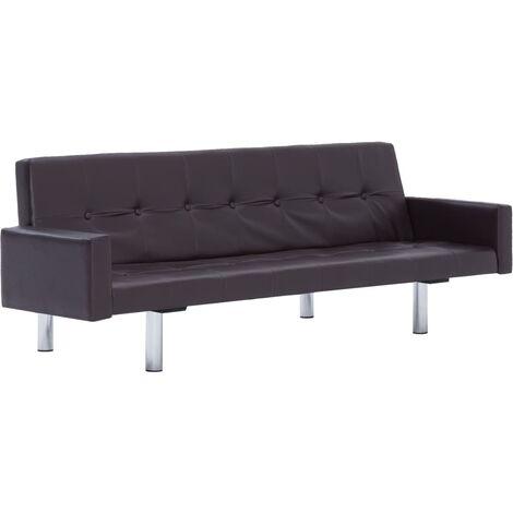 Sofá cama con reposabrazos de cuero sintético marrón