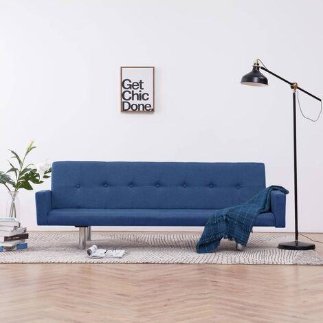 Sofá cama con reposabrazos de poliéster azul