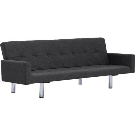 Sofá cama con reposabrazos de poliéster gris oscuro