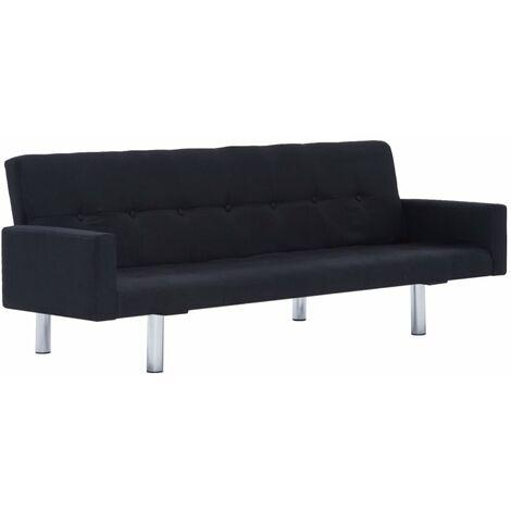 Sofá cama con reposabrazos de poliéster negro