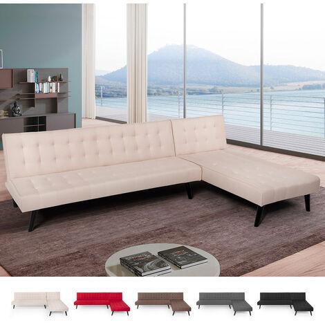 Sofá cama de esquina de 3 plazas clic clac en tela modular reclinable de diseño moderno Natal