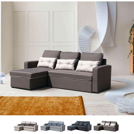 Sofá cama de esquina de 3 plazas con cojines para sala de estar SMERALDO