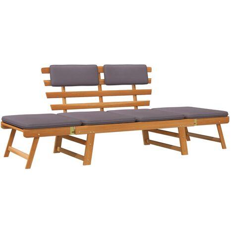 Sofá cama de jardín 2 en 1 con cojín madera maciza acacia 190cm