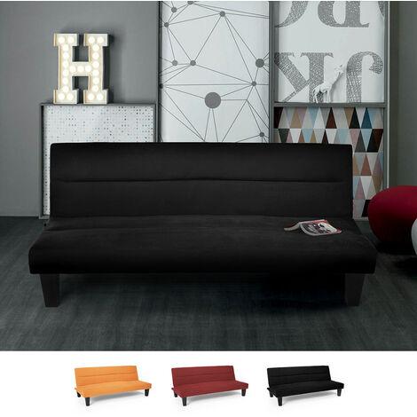 Sofá cama de microfibra efecto terciopelo 2 plazas diseño Ametista Rainbow | Color: Negro