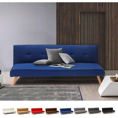 Sofá cama de tejido diseño moderno 2 plazas para salón y sala de estar clic-clac Larimar