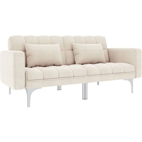 Sofá cama de tela blanco crema