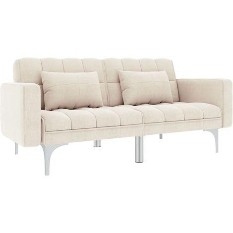 Sofa cama de tela blanco crema
