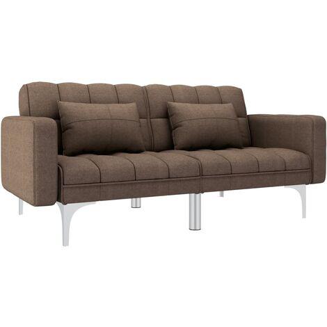 Sofá cama de tela marrón