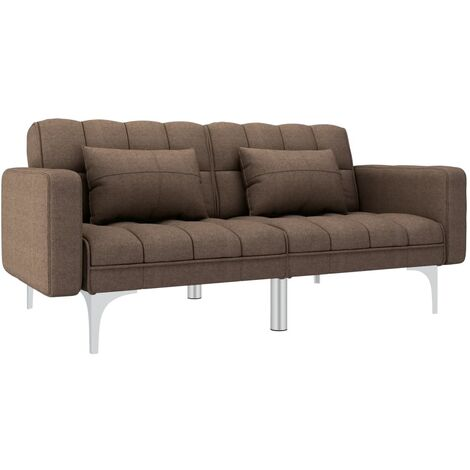 Sofa cama de tela marron