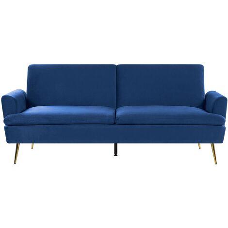 Sofá cama de terciopelo azul VETTRE