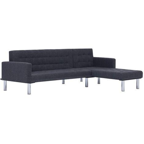 Sofá cama en forma de L poliéster gris oscuro