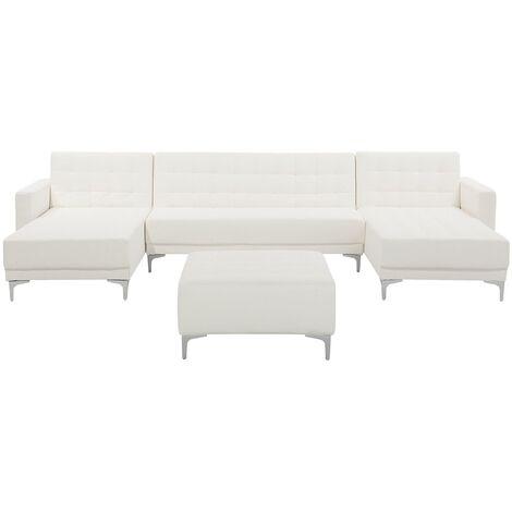 Sofá cama en forma de U blanco en piel sintética con reposapiés ABERDEEN