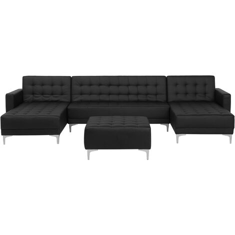 Sofá cama en forma de U negro en piel sintética con reposapiés ABERDEEN