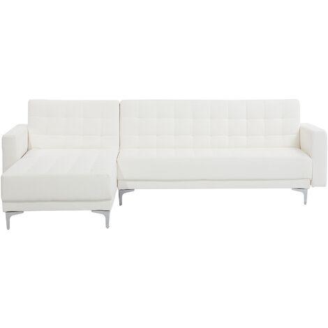 Sofá cama esquinero 4 plazas en piel sintética blanco derecho ABERDEEN