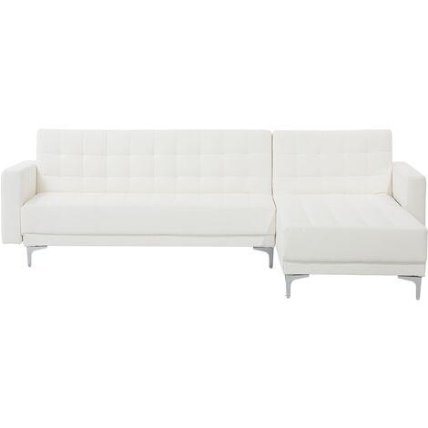 Sofá cama esquinero 4 plazas en piel sintética blanco izquierdo ABERDEEN