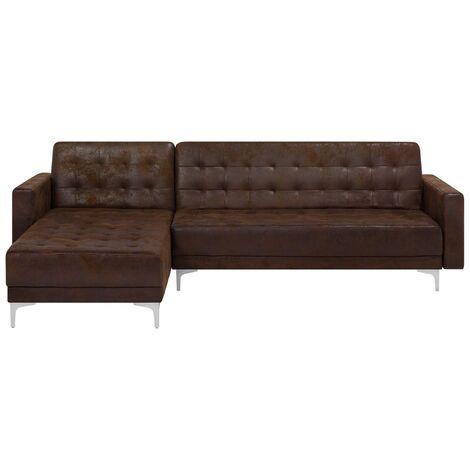Sofá cama esquinero 4 plazas en piel sintética marrón derecho ABERDEEN