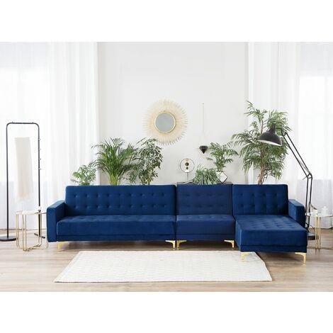 Sofá cama esquinero 5 plazas en terciopelo azul oscuro izquierdo ABERDEEN