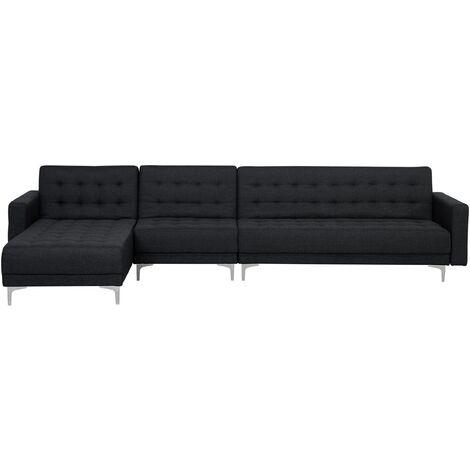 Sofá cama esquinero 5 plazas tapizado gris grafito derecho ABERDEEN