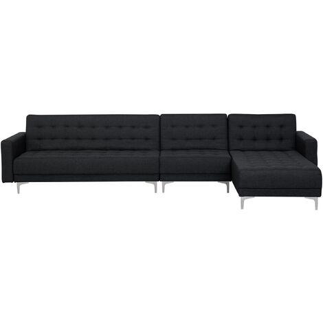Sofá cama esquinero 5 plazas tapizado gris grafito izquierdo ABERDEEN