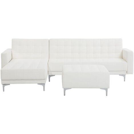 Sofá cama esquinero en piel sintética blanca con reposapiés derecho ABERDEEN