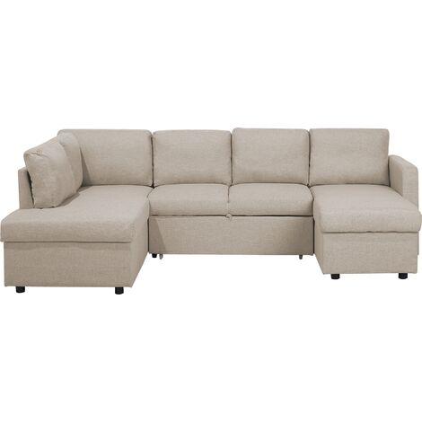Sofá cama esquinero tapizado beige KARRABO