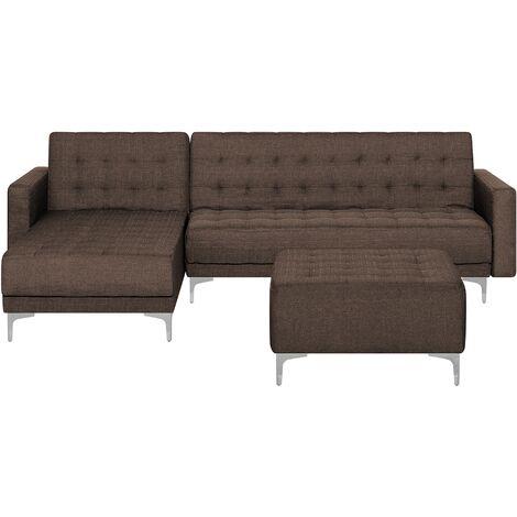 Sofá cama esquinero tapizado marrón oscuro con reposapiés derecho ABERDEEN