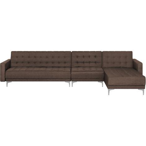 Sofá cama esquinero tapizado marrón oscuro izquierdo ABERDEEN