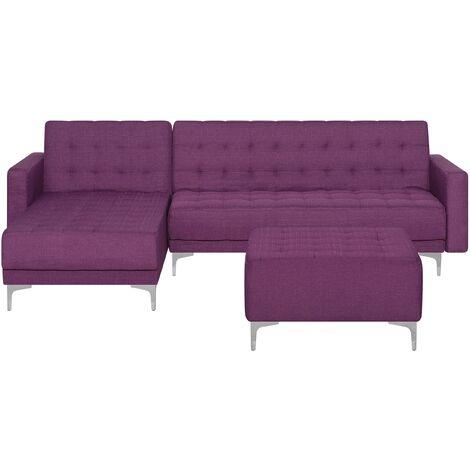 Sofá cama esquinero tapizado violeta con reposapiés derecho ABERDEEN