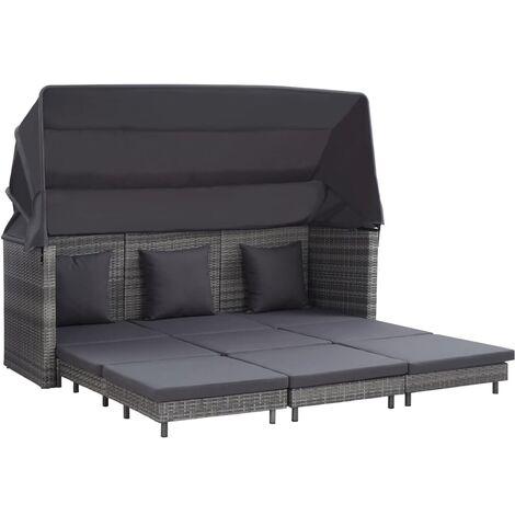 Sofá cama extensible 3 plazas con capota ratán sintético gris