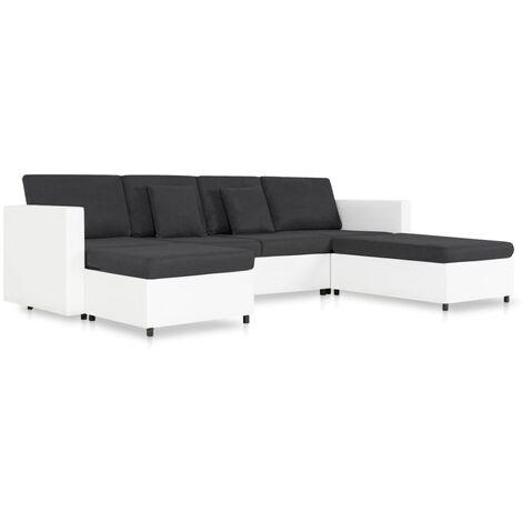 Sofá cama extraíble de 4 plazas cuero sintético blanco