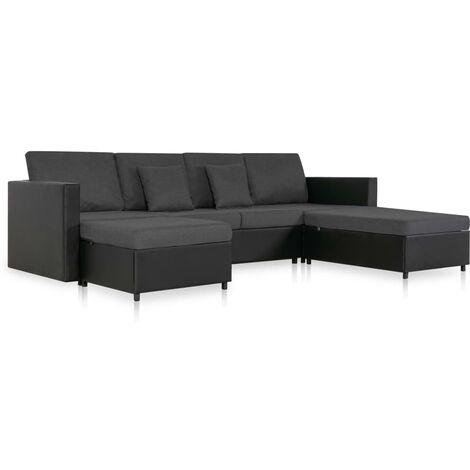 Sofá cama extraíble de 4 plazas cuero sintético negro
