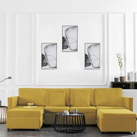 Sofá cama extraíble de 4 plazas tela amarillo