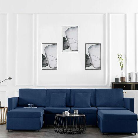 Sofá cama extraíble de 4 plazas tela azul