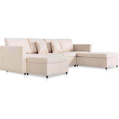 Sofá cama extraíble de 4 plazas tela color crema