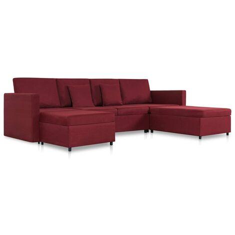 Sofá cama extraíble de 4 plazas tela color vino tinto
