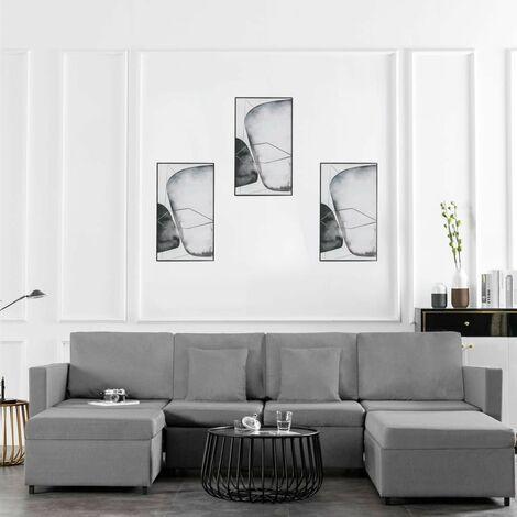 Sofá cama extraíble de 4 plazas tela gris claro