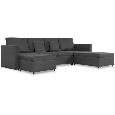 Sofá cama extraíble de 4 plazas tela gris oscuro