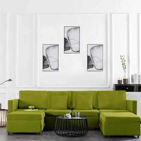 Sofá cama extraíble de 4 plazas tela verde