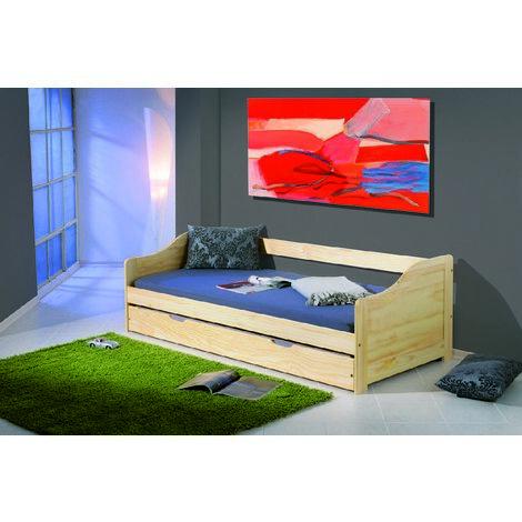 Sofá cama individual con cama plegable, color roble, de 97x209x66cm.