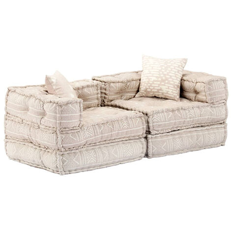 Sofa cama modular de 2 plazas de tela beige