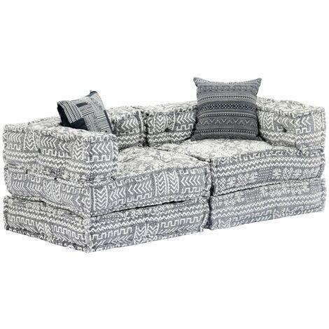 Sofá cama modular de 2 plazas tela gris claro