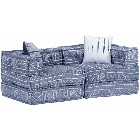 Sofá cama modular de 2 plazas tela Patchwork añil