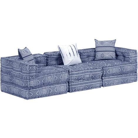 Sofá cama modular de 3 plazas tela azul