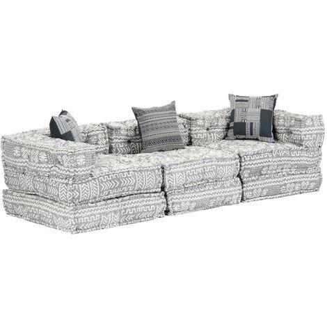 Sofá cama modular de 3 plazas tela gris claro