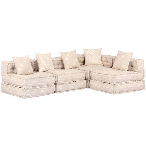 Sofá cama modular de 4 plazas de tela beige