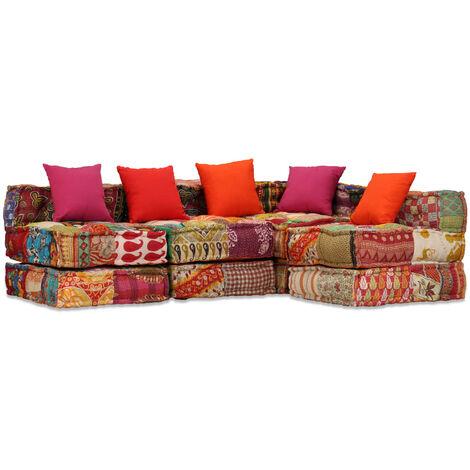 Sofá cama modular de 4 plazas de tela Patchwork